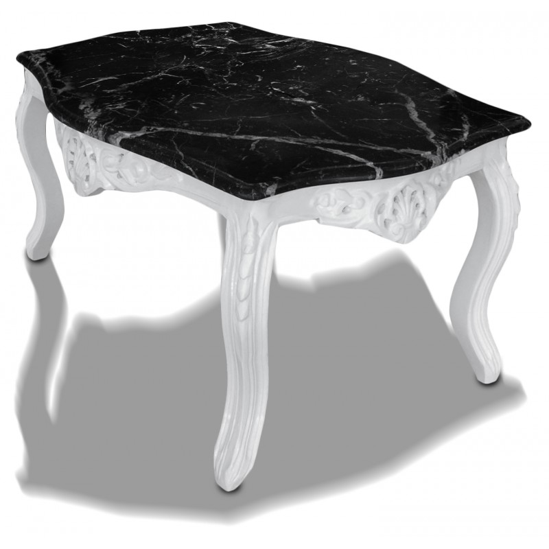 Coffee table baroque style white lacquered wood with black - Table basse marbre noir ...