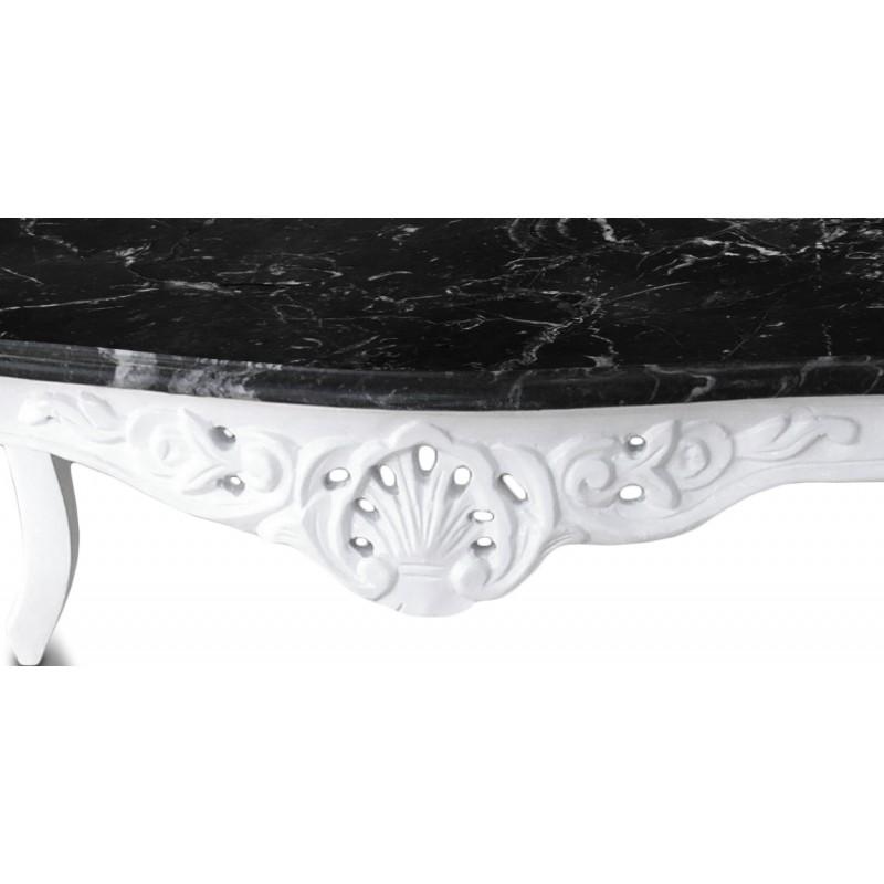 Table basse de salon de style baroque en bois laqu blanc avec marbre noir - Table basse en marbre blanc ...