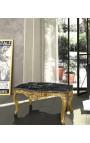 Журнальный столик в стиле барокко позолоченного дерева с черным мрамором