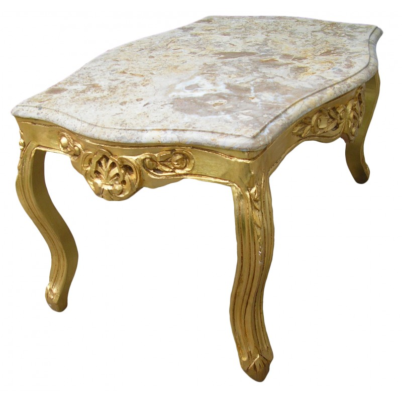 table basse de salon de style baroque en bois dor e avec marbre beige. Black Bedroom Furniture Sets. Home Design Ideas