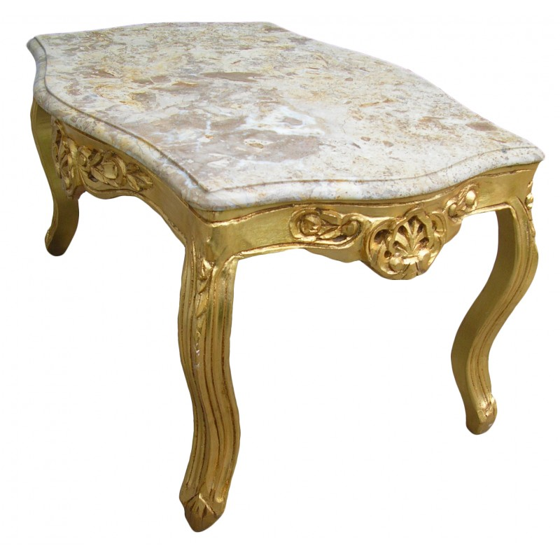 Table basse de salon de style baroque en bois dor e avec for Table basse marbre