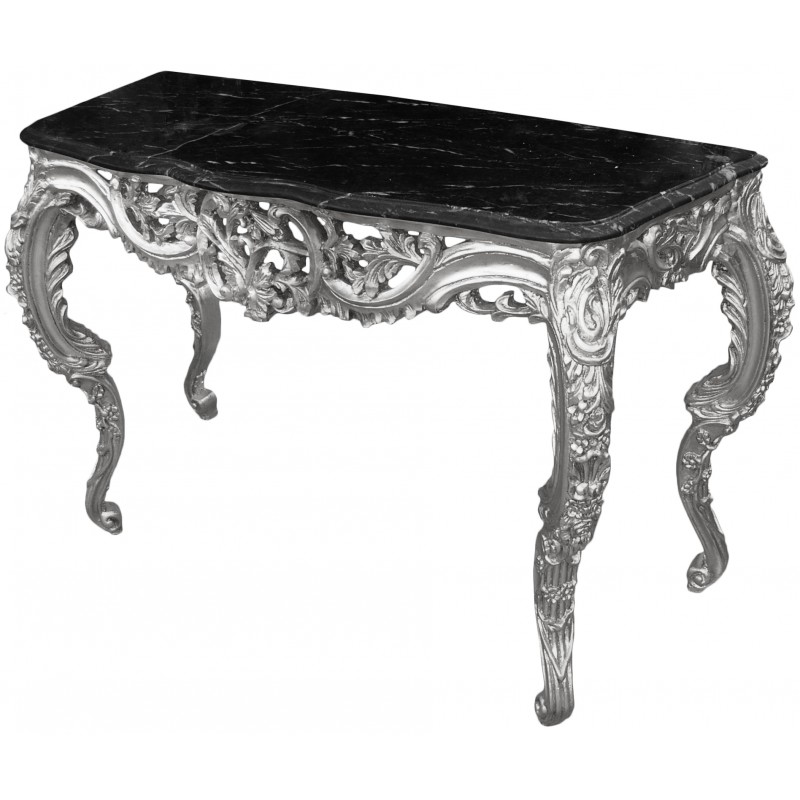 console de style baroque louis xv rocaille en bois argent et marbre noir. Black Bedroom Furniture Sets. Home Design Ideas