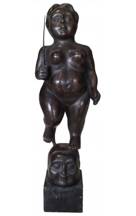 "Sculpture in bronze and marble base, ""voluptuous woman with sword"""