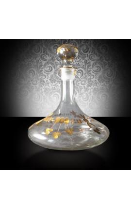 Carafe à décanter au motifs floraux gravés à l'or