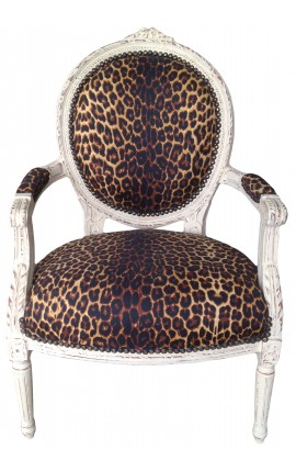 Louis XVI style armchair leopard fabric and beige patinated wood
