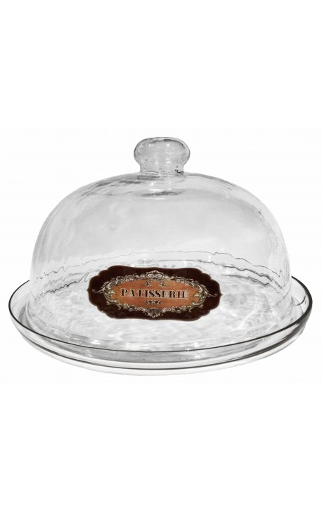 "Bell glass cake plate with enamel label ""Patisserie"""