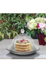 Bell cake or cheese with plate and blown glass