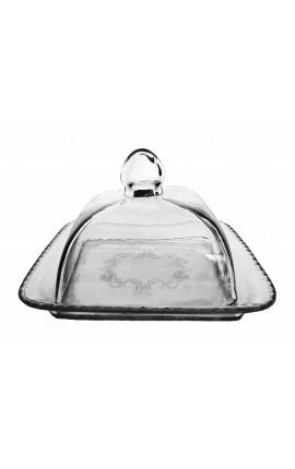 Cloche à gâteau ou à fromage carrée en verre soufflé avec plateau