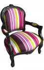 baroque armchair for child fabric multicolor striped with black lacquered wood