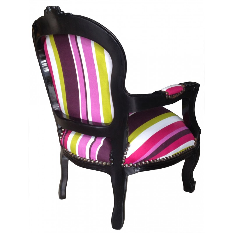 Baroque armchair for child fabric multicolor striped with for Children s furnishing fabrics
