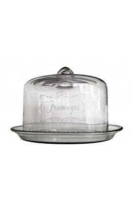 Cloche à fromage cylindrique en verre soufflé avec plateau