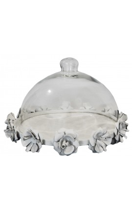 Bell glass cake stand with white iron big model