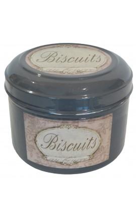 """Boite de style Vintage en métal émaillé grise """"Biscuits au beurre"""""""