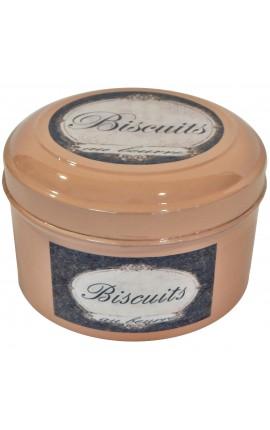 """Round box vintage style enameled metal pink """"Biscuits au beurre"""""""