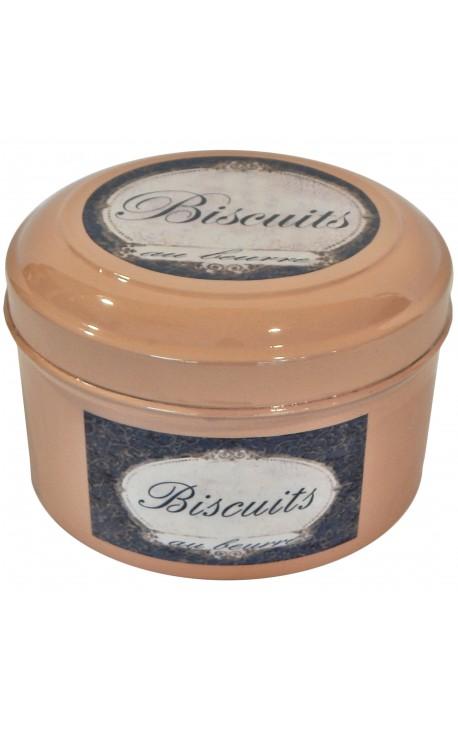 """Boite de style Vintage en métal émaillé rose """"Biscuits au beurre"""""""