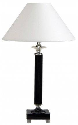 Table lamp shaped column in black and clear crystal