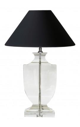 Lampe sur pied en forme de balustre en cristal transparent
