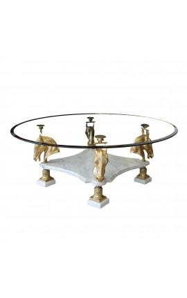 Table de repas ronde en bronze et marbre au décor de chevaux