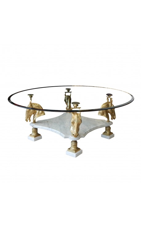 Table de repas ronde en bronze et marbre au décors de chevaux