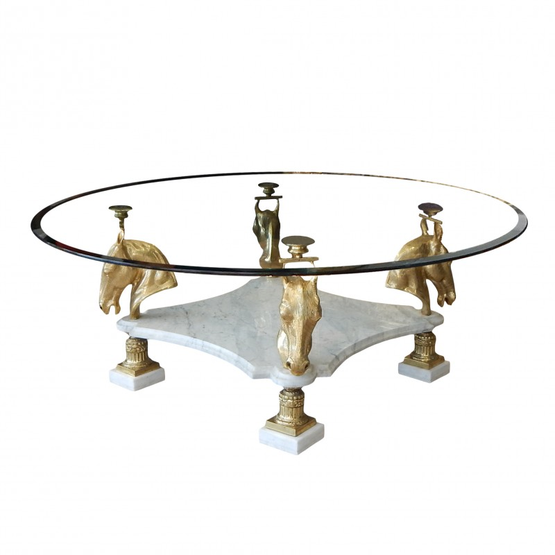 Round Dining Table In Bronze And Marble With Horses Decorations