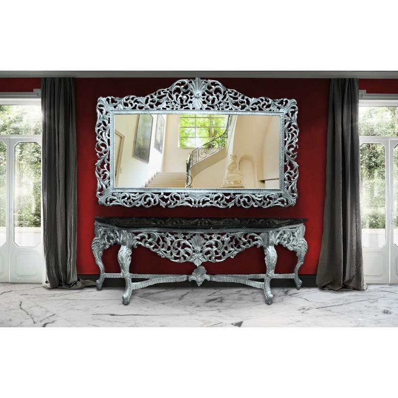 enorme console avec miroir style baroque en bois argent marbre noir. Black Bedroom Furniture Sets. Home Design Ideas