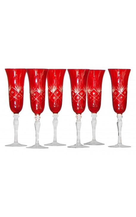 Set of 6 flutes red feet with floral motifs