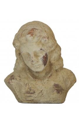 """Buste feminin en terre cuite """"femme mélancolique"""""""