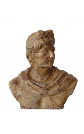 """Buste masculin en terre cuite """"Apollon"""""""