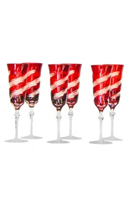 Set of 6 red flutes crystal doubled
