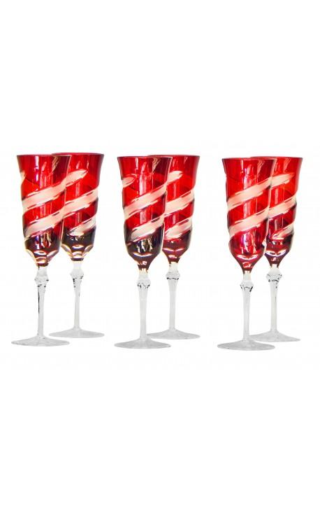 Ensemble de 6 flutes rouges à pieds en cristal doublé