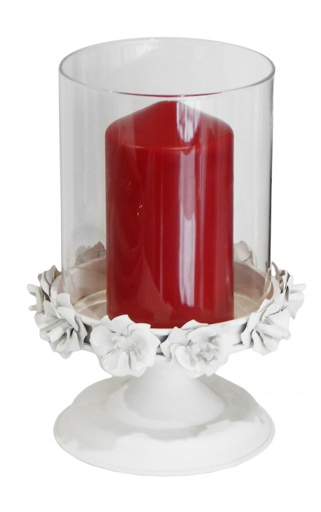 White metal and glass candle holder with flowers