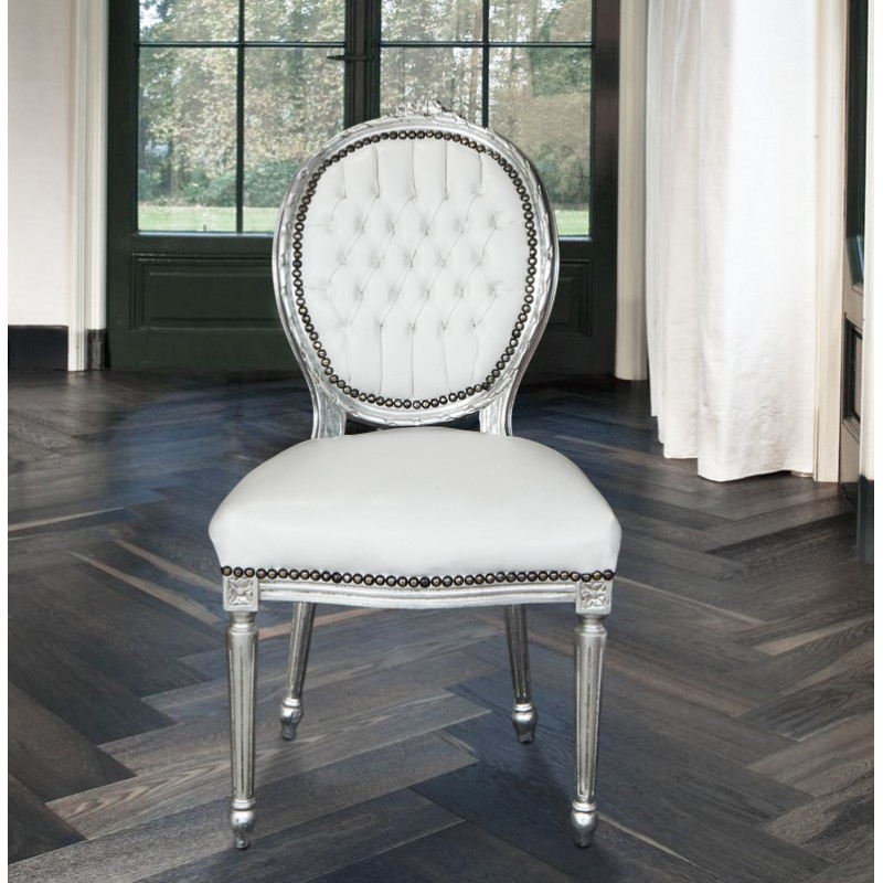 chaise baroque de style louis xvi simili cuir blanc et bois argent. Black Bedroom Furniture Sets. Home Design Ideas