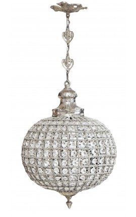 Ball chandelier with clear glass and silver bronze