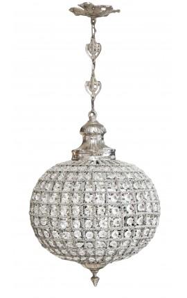 Lustre boule à pampilles verre transparente avec bronzes argentés