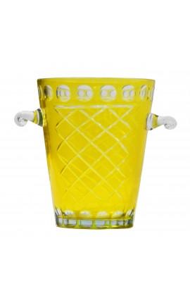 Seau à champagne jaune en verre soufflé et taillé à la main