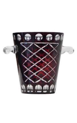 Red champagne bucket in blown glass and hand-cut