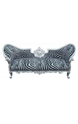 Baroque Napoelon III style medallion sofa zebra fabric and wood silver