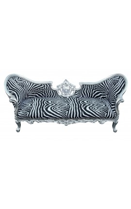 Baroque Napoelon III style sofa zebra fabric and wood silver