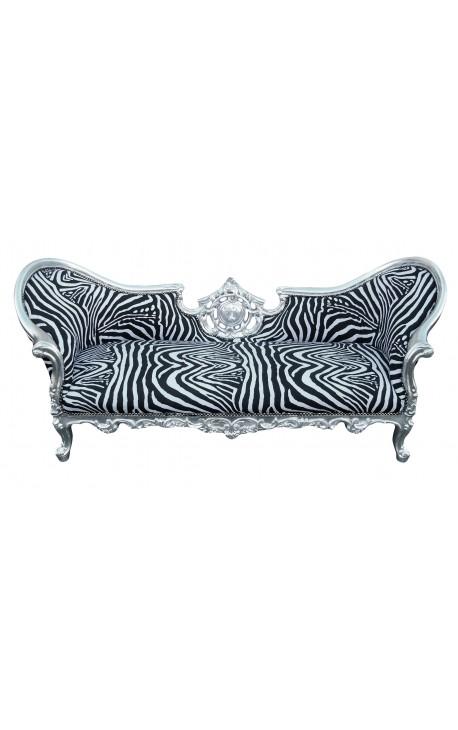 Барокко Napoleon III диван стиль Зебра ткань и дерево серебро