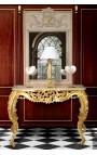 Console de style baroque Louis XV Rocaille en bois doré et marbre beige