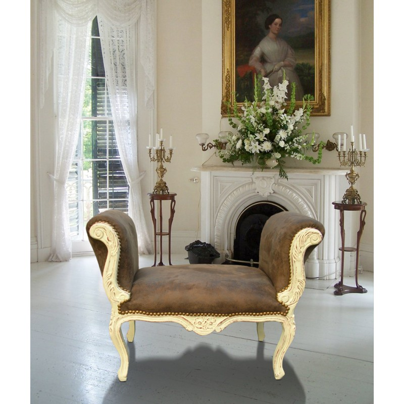 banquette de style louis xv tissus chocolat et bois beige. Black Bedroom Furniture Sets. Home Design Ideas
