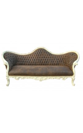 Canapé baroque Napoléon III tissu chocolat et bois beige patiné
