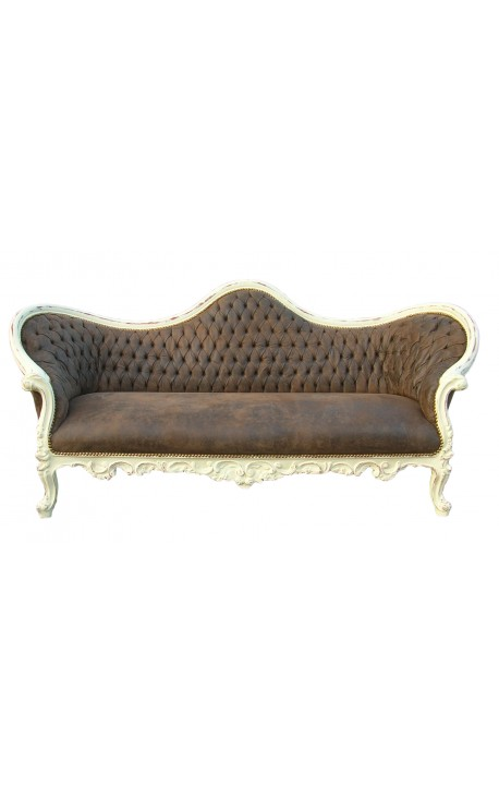 Baroque Sofa Napoléon III style chocolate fabric and beige wood