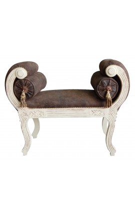 Roman bench chocolate fabric and beige antic patina wood