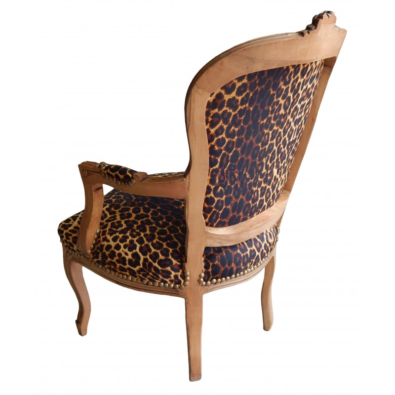 fauteuil de style louis xv tissu leopard et bois naturel. Black Bedroom Furniture Sets. Home Design Ideas