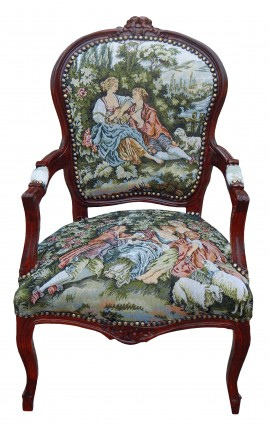 Baroque armchair of Louis XV style with romantic scene and cherry wood color