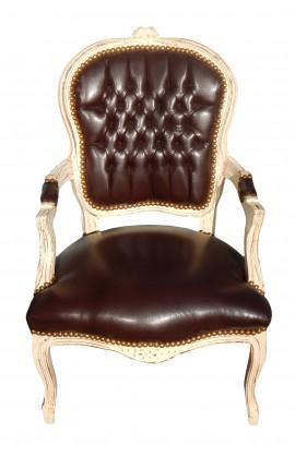 Fauteuil Louis XV de style baroque simili cuir marron et bois beige patiné