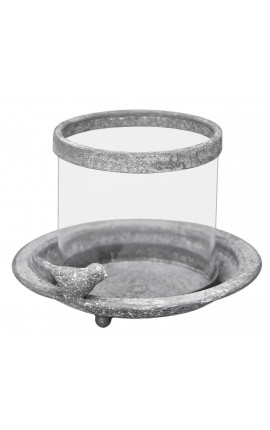Metal and glass candle holder with bird, grey