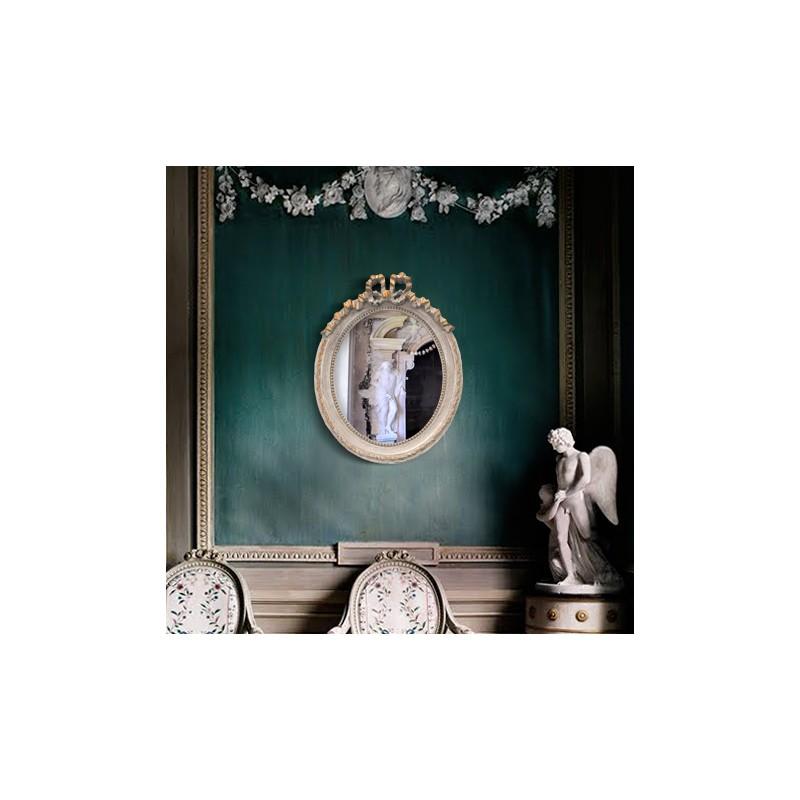 Miroir ovale vertical de style louis xvi patin gris et dor for Miroir vertical