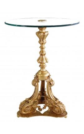 Пьедестал таблице Louis XV стиля бронзы и стеклянной столешницейстеклянной столешницей
